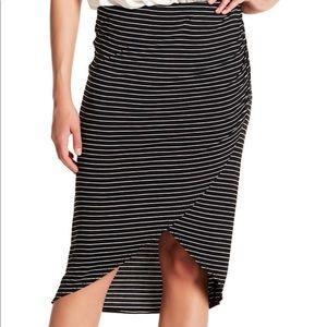 Max studio stripe wrap skirt